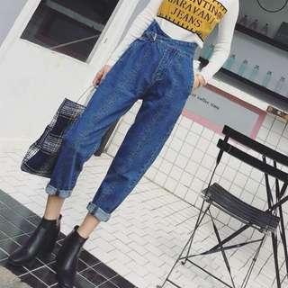 🚚 Minimei追加款✪韓系韓版歐美風英倫風百搭休閒高腰牛仔褲九分寬鬆蘿蔔褲女加絨休閒哈倫褲子女