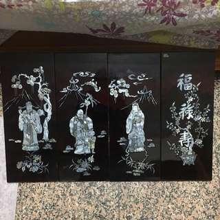福祿壽 壁掛畫 貝殼作畫 共四幅 已收藏很久 未使用過