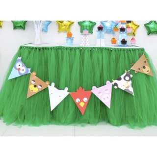 Green Tutu Fluffy Yarn Table Skirt