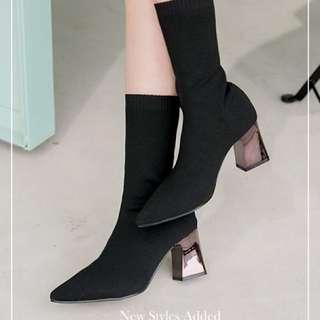 及膝及踝彈性貼身襪子套靴 中高跟socks slim boot middle high heels