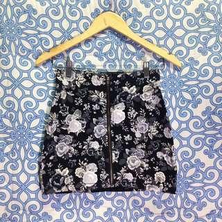 H&M Divided Floral Denim Mini Skirt