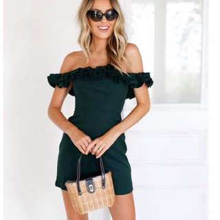 Green ruffle off shoulder dress