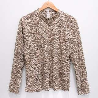 AK5385 BLOUSE LEOPARD TUTUL STRETCH ZIP GOLD BROWN BAGUS IMPOR MURAH