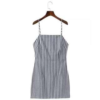 [PO] Striped Bow Back Dress