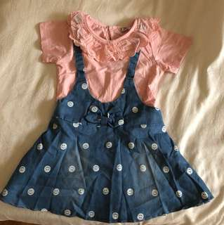 Denim dress for 2/3 yo girls