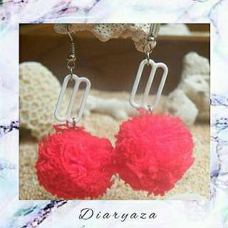 Red Pompom Earring
