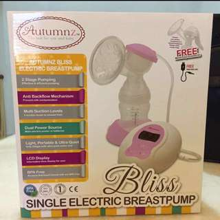 Autumnz Bliss Single Electric Breast Pump FREE manual breast pump & 8 storage bottles & cooler bag