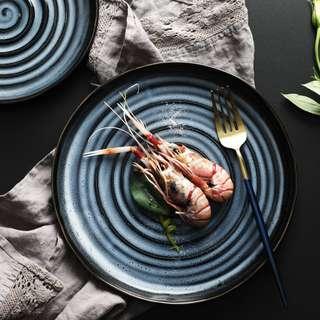PO Textured Spiral Navy Blue Modern Concept Serving Plate