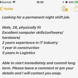 Looking for a night job