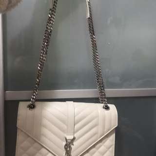 YSL Medium Envelop Bag (white)