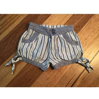 Girls Jack and Milly blue & white stripe shorts, size 1
