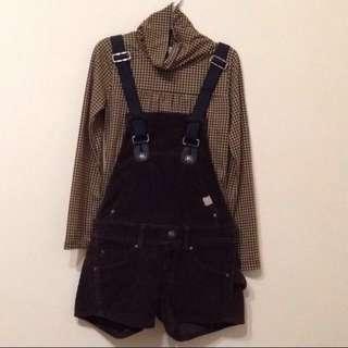 百貨專櫃日本製 絨布吊帶褲S