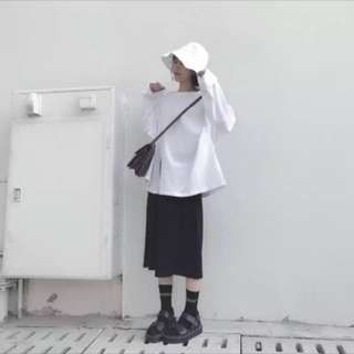 🚚 開衩黑色中長裙