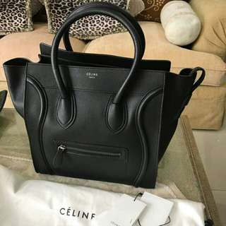 Celine mini luggage black grained 2014