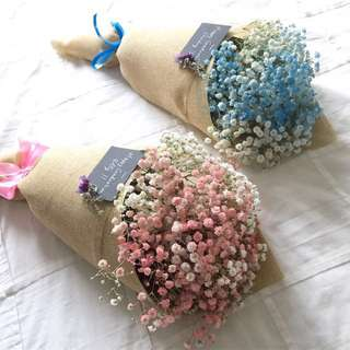 Pink and blue fresh baby's breath bouquet