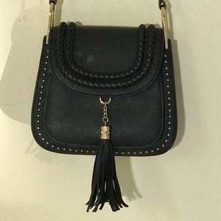Black boho tassel handbag