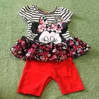 Set of Disney Minnie Blouse and leggings shorts size 12months