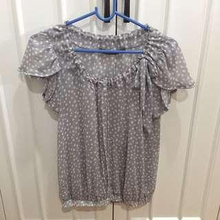 Zara Polka Dot Short Sleeve Blouse