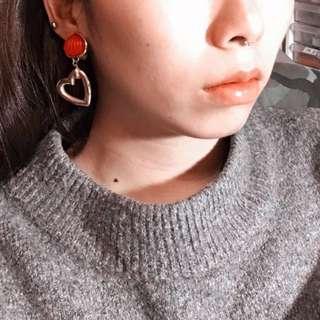 VINTAGE 復古大紅愛心耳環 夾式