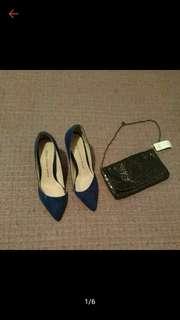 正韓 shoe fitter marco 時尚 寶藍 高跟鞋