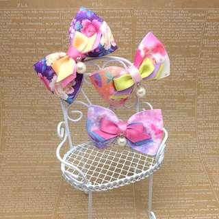 Handmade Korean Style Flower Prints Ribbon Bow Children Girls Hair Clip