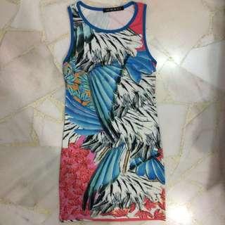 Sleeveless Printed Dress Unique Bare Back