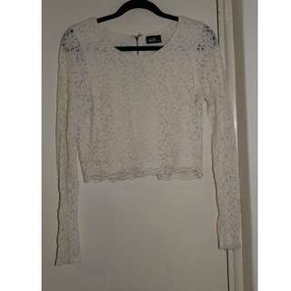 Lace Long-sleeve Crop Top