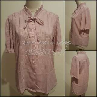 Pleated pink chiffon victorian blouse.