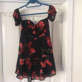 Floral Romance off the shoulder dress