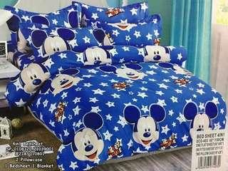 4in1 queen bedsheet ⚛️2 pillowcase ⚛️1 bedsheet ⚛️1 blanket