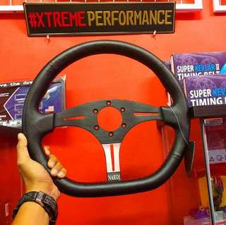 STEERING NARDI 3 SPOKE FLAT BOTTOM LEATHER