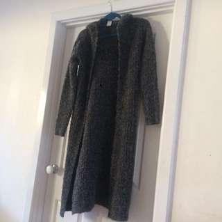 Long thick wool cardigan