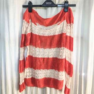 Orange Stripes Knitted Top