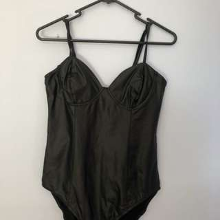 Black leather leotard