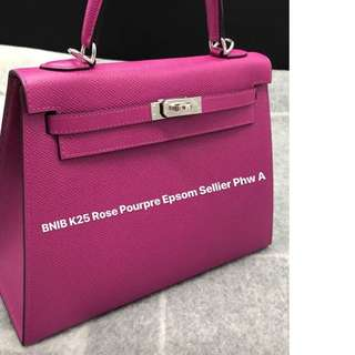 Authentic Hermes Kelly 25 rose pourpre epsom sellier phw stamp A