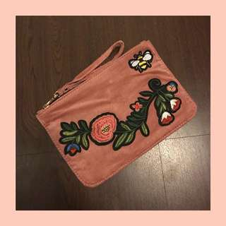 Flower Embroidery Pink Pouch