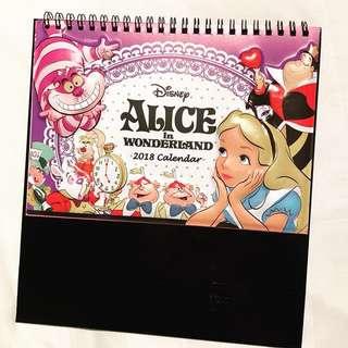 包郵🍭全新台灣製 迪士尼正版限定 2018年愛麗絲Alice in wonderland 座枱月曆