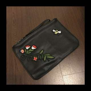 Flower Embroidery Black Pouch