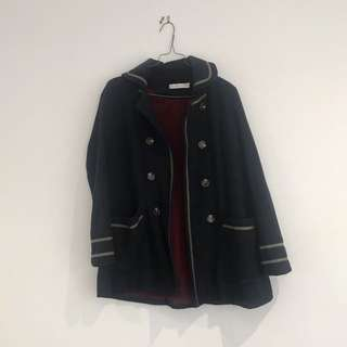 MINKPINK navy brown stripe coat jacket, XS size 6