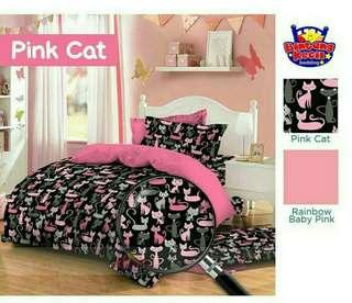 SET BEDCOVER STAR PINK CAT / UK: NO.1 180 x 200