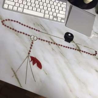 全新 品牌freedom topshop 紅色珠珠長版長項鍊和平羽毛水鑽 可當腰鍊