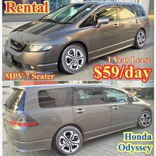 Honda Odyssey MPV 7 Seater Car Leasing Personal Rent / Uber Grab Rental ( Toyota Estima also available)  Min 1/2 Year Lease -Cheapest in Town