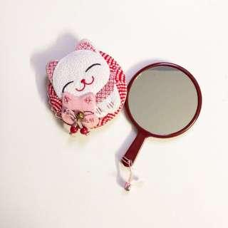 Cute Neko Cat Fabric Cover Mirror