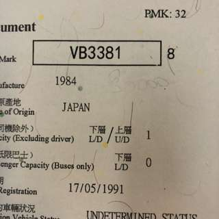 車牌 Car Plate No. - VB3381
