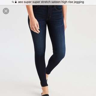 超舒適AEO high rise jegging US2 short 深藍牛仔褲