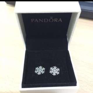 Pandora雪花耳環
