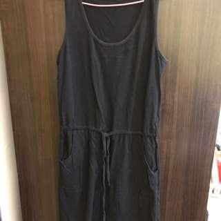 長版黑色背心裙