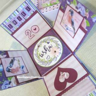 Purple Floral Birthday Gift Box Album