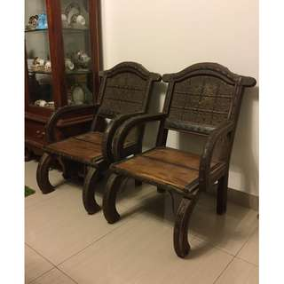 A pair of British India wooden chairs (circa 1800s)