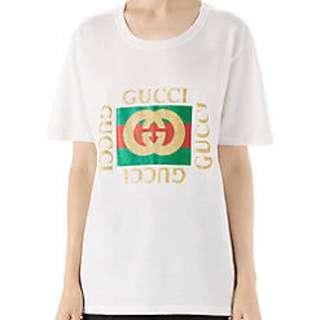 Authentic GUCCI Glitter Logo White Woman's Cotton T-shirt XS